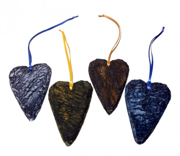 Fused slate heart hangings