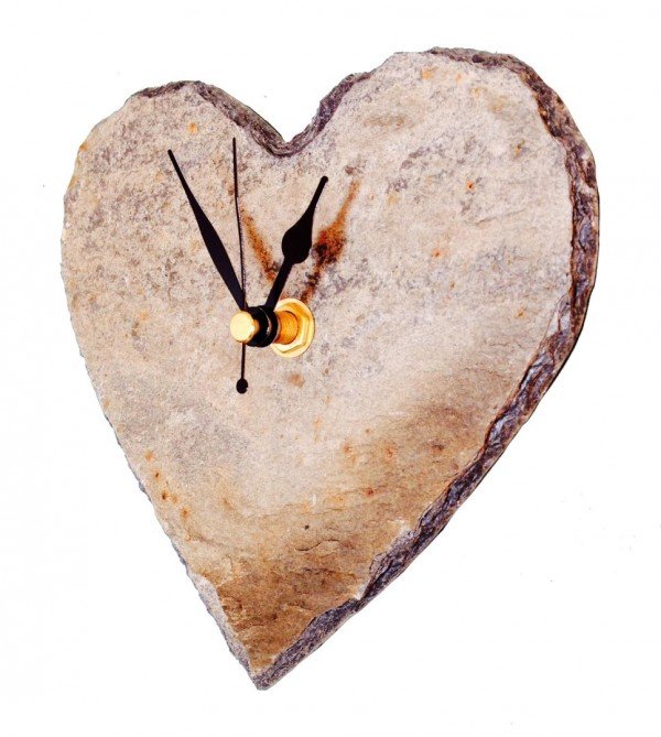 Cornish Slate heart clock