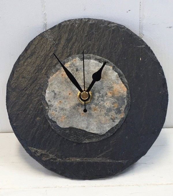 Natural slate round clock