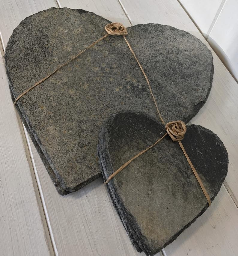 Cornish slate heart placemats