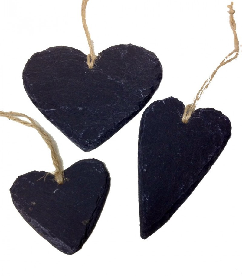 Slate heart hangings