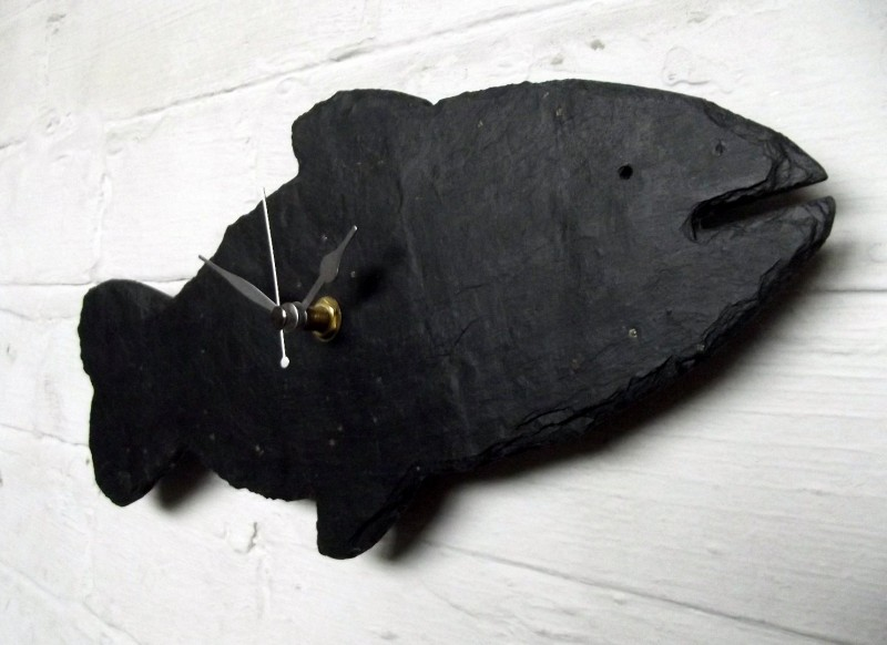 Natural slate fish clock