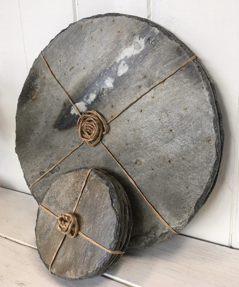 Cornish slate round coasters