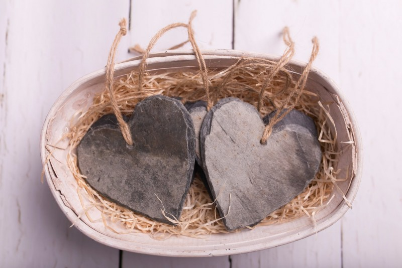 Cornish slate hearts
