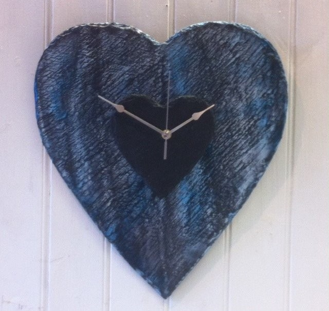 Ocean wave slate heart clock