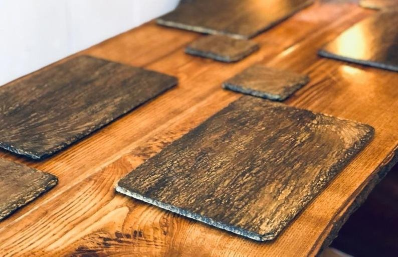 Bronzed amber slate placemats