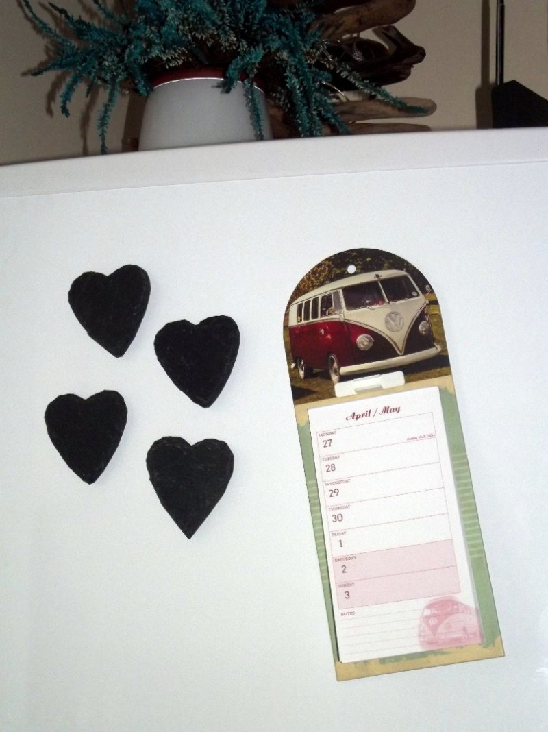 Natural slate heart fridge magnets