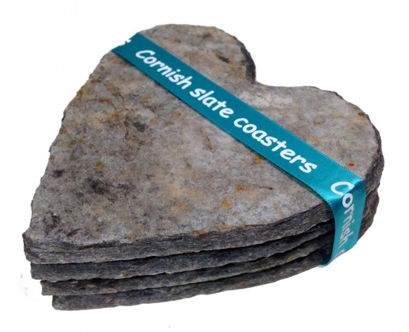 Cornish slate heart coasters