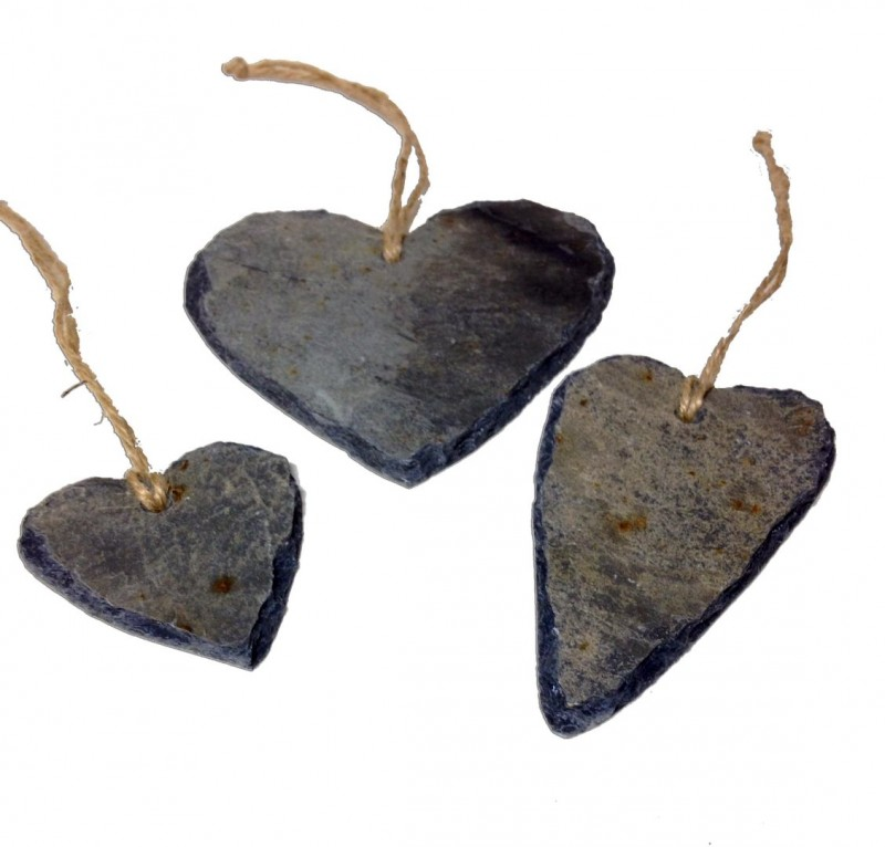 Cornish slate heart hangings